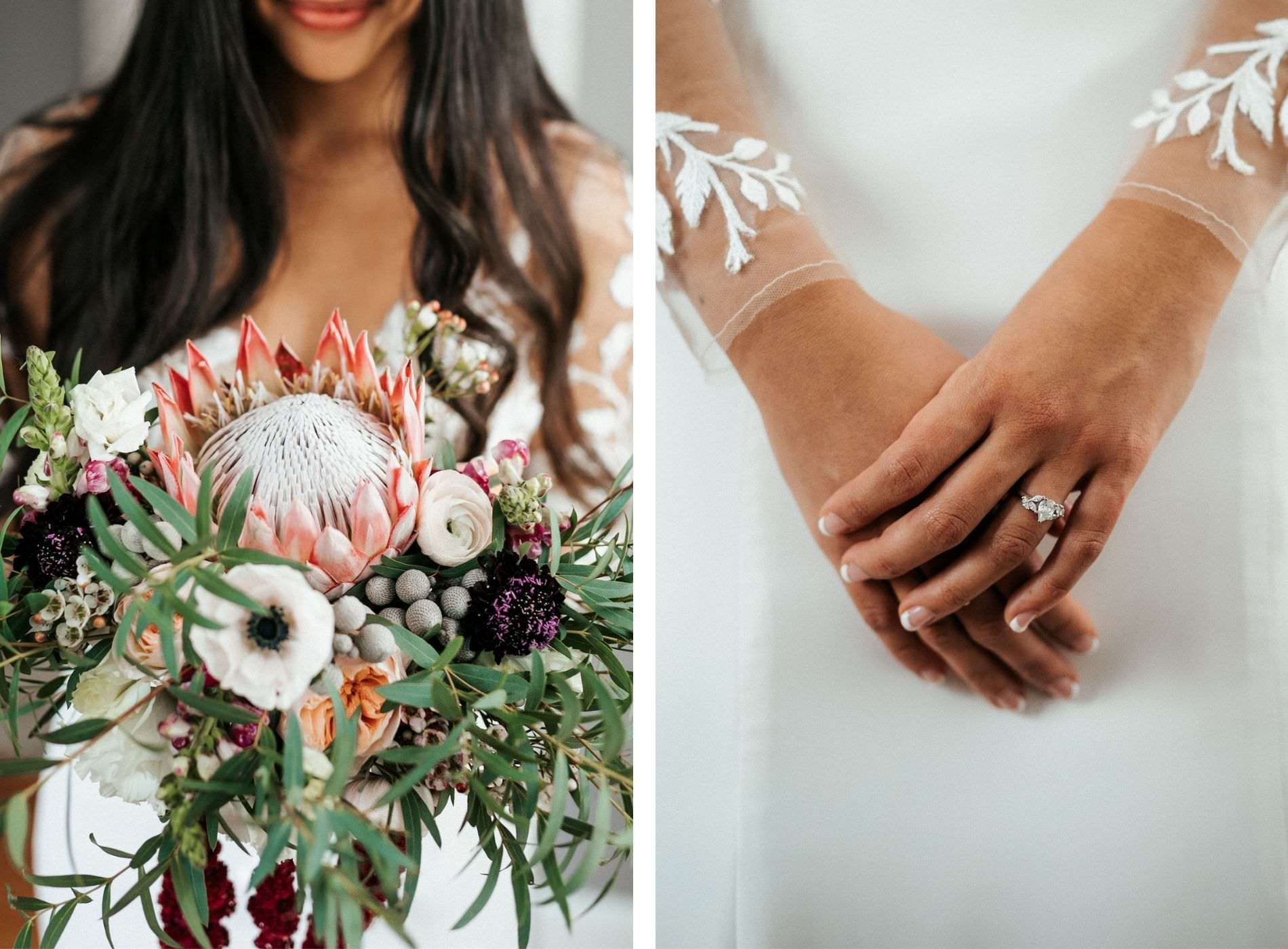 Romantic, Modern Tropical Florida Bridal Details, Vibrant Bouquet with King Protea, Dark Purple, Pink, White, Wine and Ivory Florals with Greenery, Bride Wearing BHLDN Wedding Dress | Tampa Bay Wedding Florist Posies Flower Truck