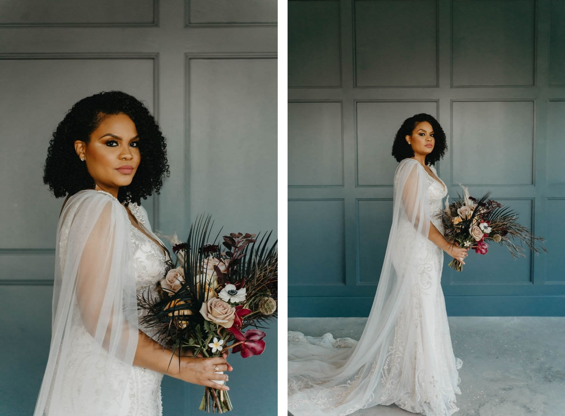 Indoor Bridal Portrait in Tampa Wedding Venue Hyde House   Illusion Lace Embroidered Beaded V Neck Wedding Dress Bridal Gown with Sheer Tulle Cape Sleeves by Designer Amalia Carrara Bridal   Boho Moody Wild Bridal Bouquet with Deep Green Leaves, Cafe au Lait Roses and Deep Red Burgundy Scabiosa and Orchids