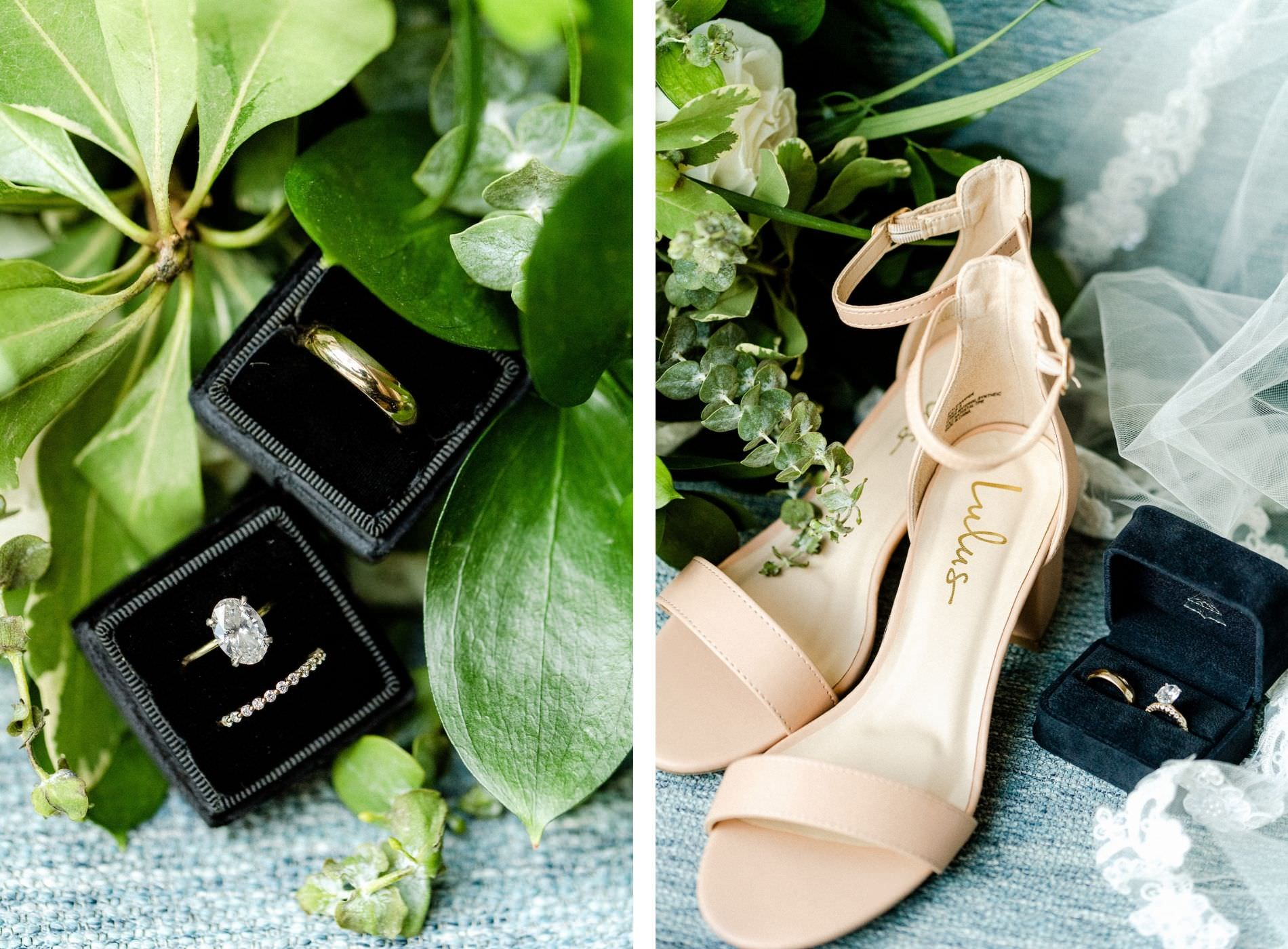 Neutral Greenery Tampa Wedding Accessories Photo Shot | Lulu's Champagne Bridal Heels Shoes | Wedding Ring Shot in Black Velvet Box with Greenery Bouquet | Oval Solitaire Diamond Engagement Ring with Channel Set Diamond Band and Yellow Gold Men's Wedding Band