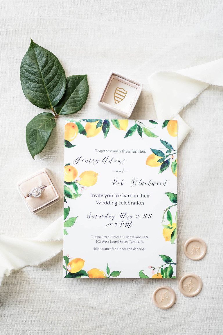 Southern Citrus Lemon Watercolor Wedding Invitation, Engagement Ring in The Mrs Ring Box