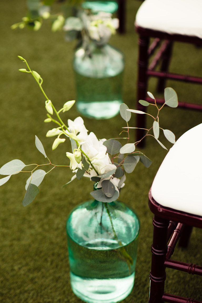 Minimal Elegant Wedding Ceremony Decor, Sea Green Vase with Silver Dollar Eucalyptus, White Flowers | Tampa Bay Wedding Planner Perfecting the Plan | Wedding Florist Iza's Flowers