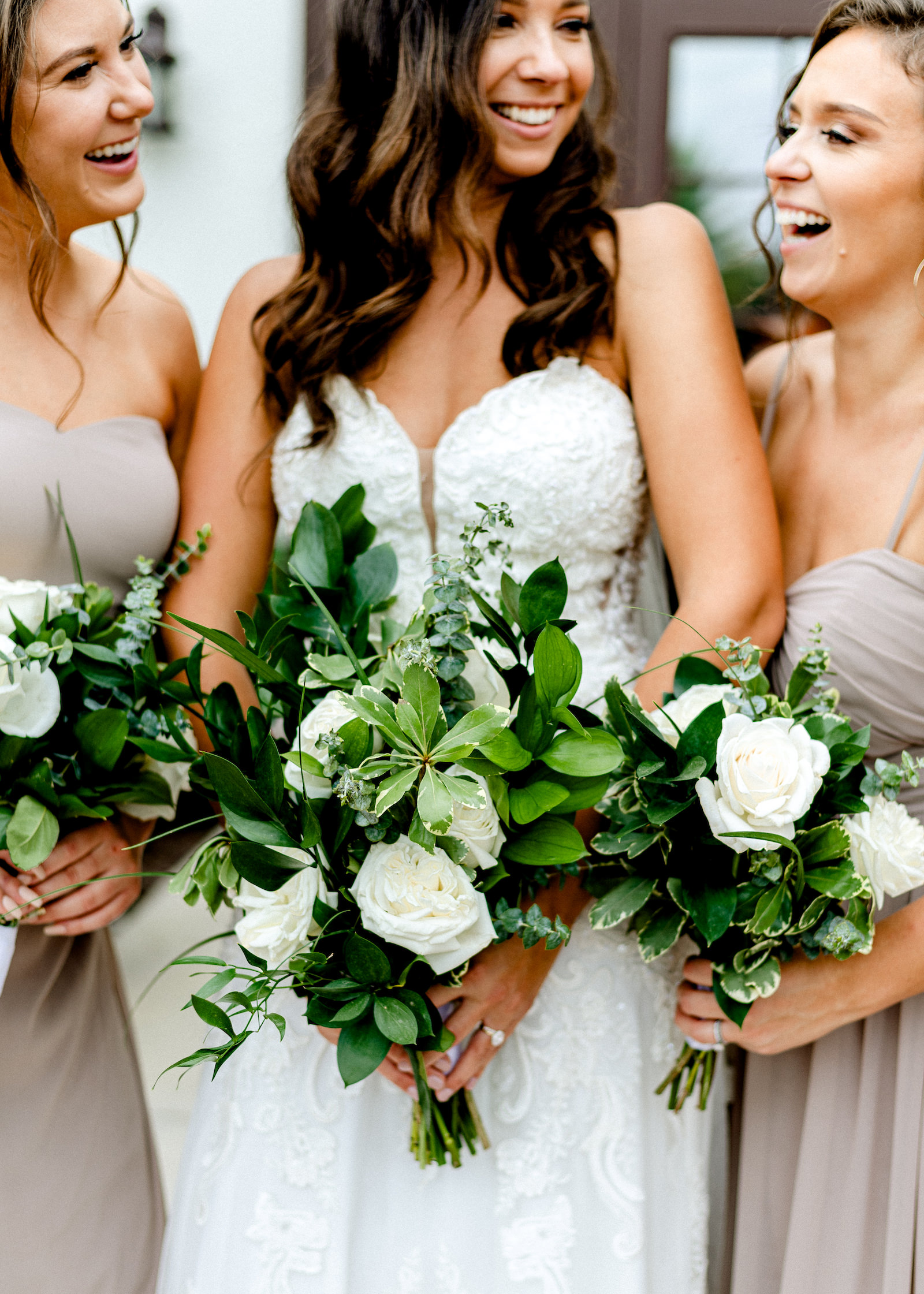 Bridal Party Outdoor Portrait | Lace Strapless Sweetheart Scalloped Edge Train Wedding Dress Bridal Gown | Bridesmaid Bouquets with Greenery and white Roses | Long Chiffon Taupe Champagne Neutral Bridesmaid Dresses by Lulu's | Dewitt for Love Photography