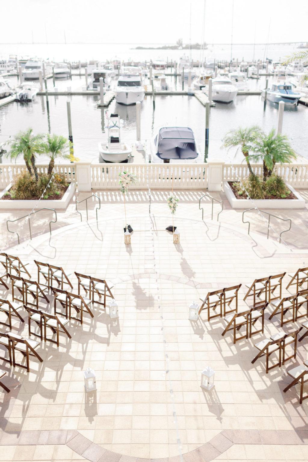 Classic Romantic Waterfront Wedding Ceremony Decor | Westshore Yacht Club