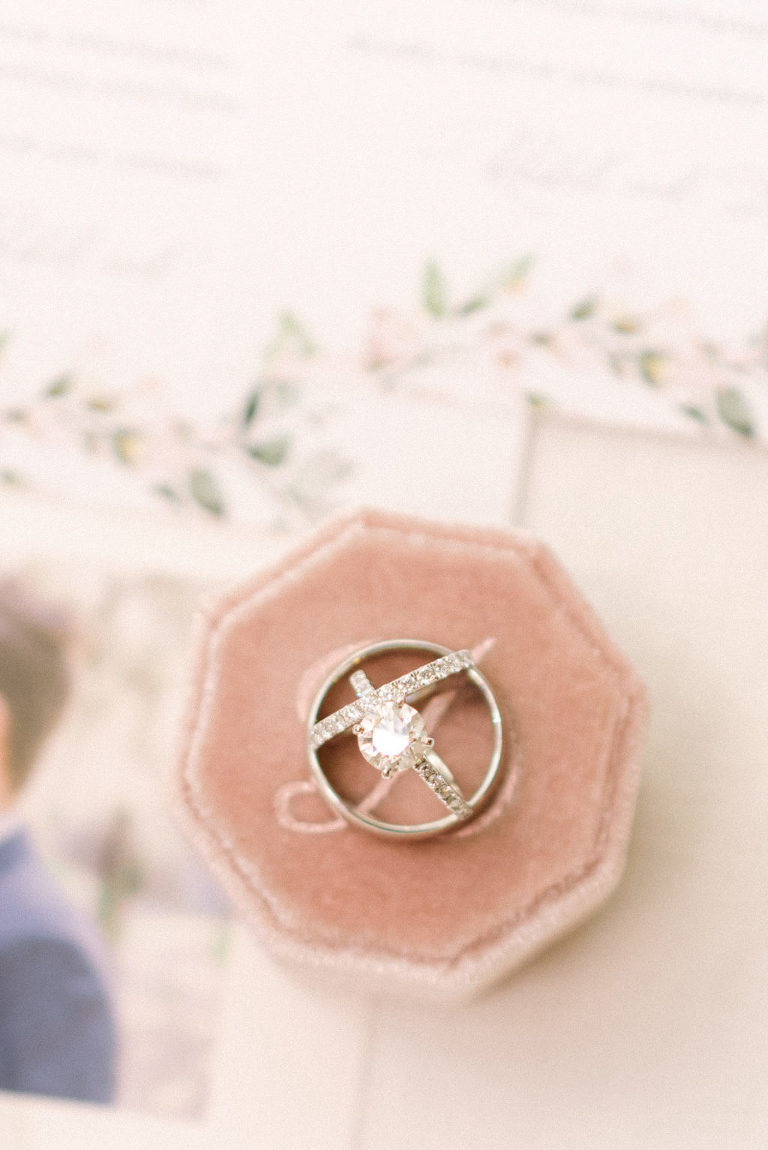 Round Solitaire Diamond Engagement Ring, Mr. and Mrs. Wedding Bands on Blush Pink Velvet Ring Box