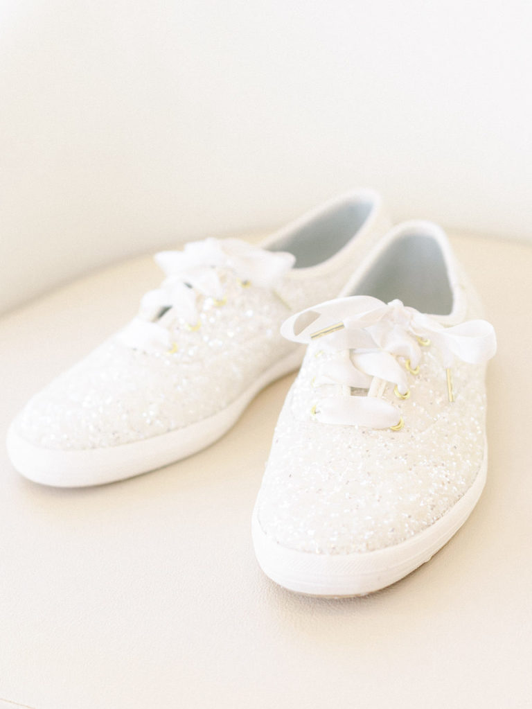 White Glitter Sneakers Bride Wedding Shoes