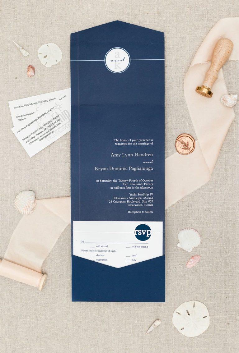 Modern, Nautical Navy and White Wedding Invitation