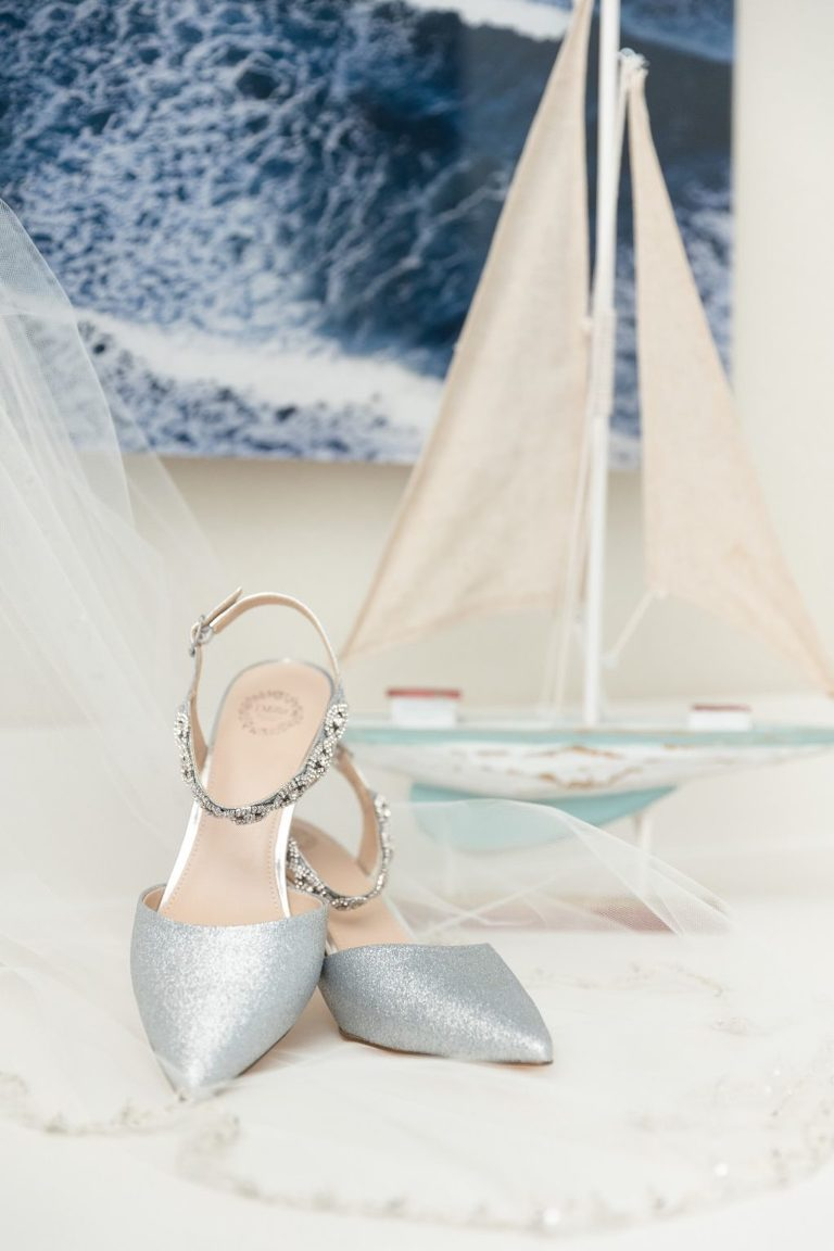 Strappy Silver Bridal Wedding Shoes with Veil