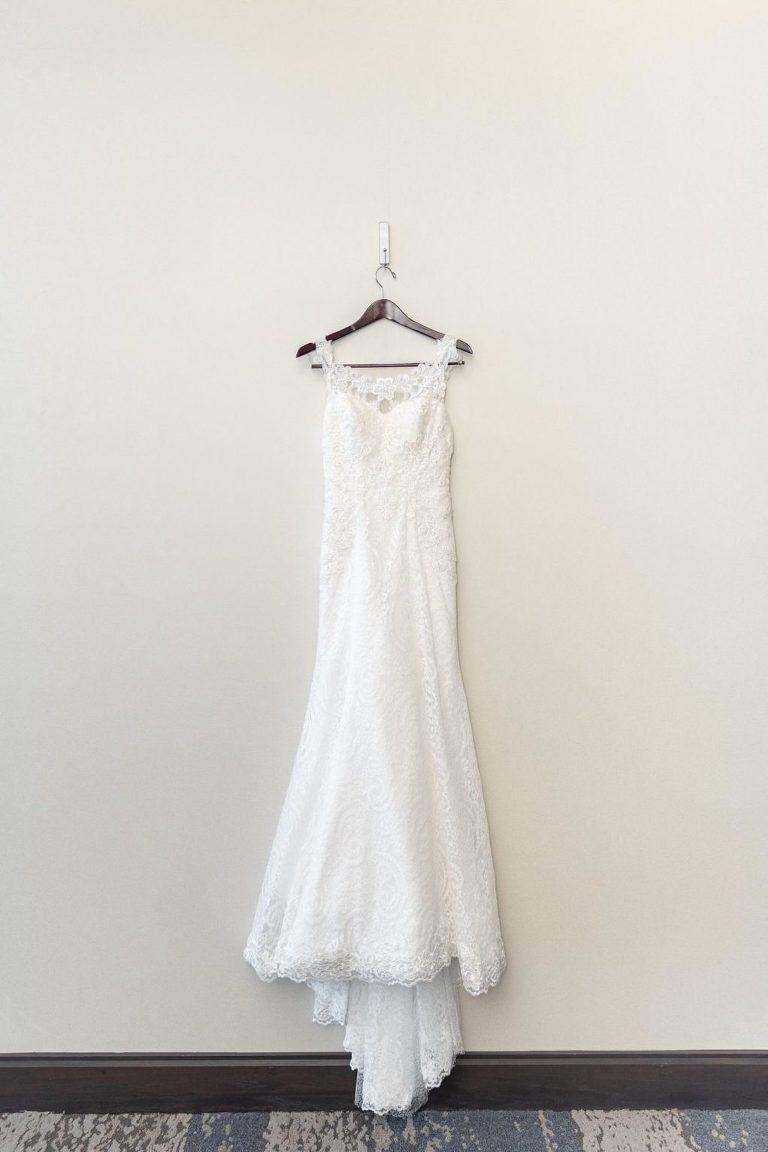 Lace Sweetheart White Wedding Dress on Hanger
