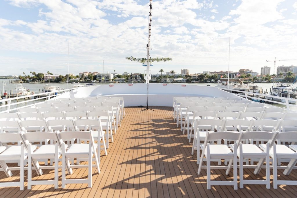 Ceremony on Ship Deck of Florida Nautical Wedding Venue | Yacht StarShip Clearwater