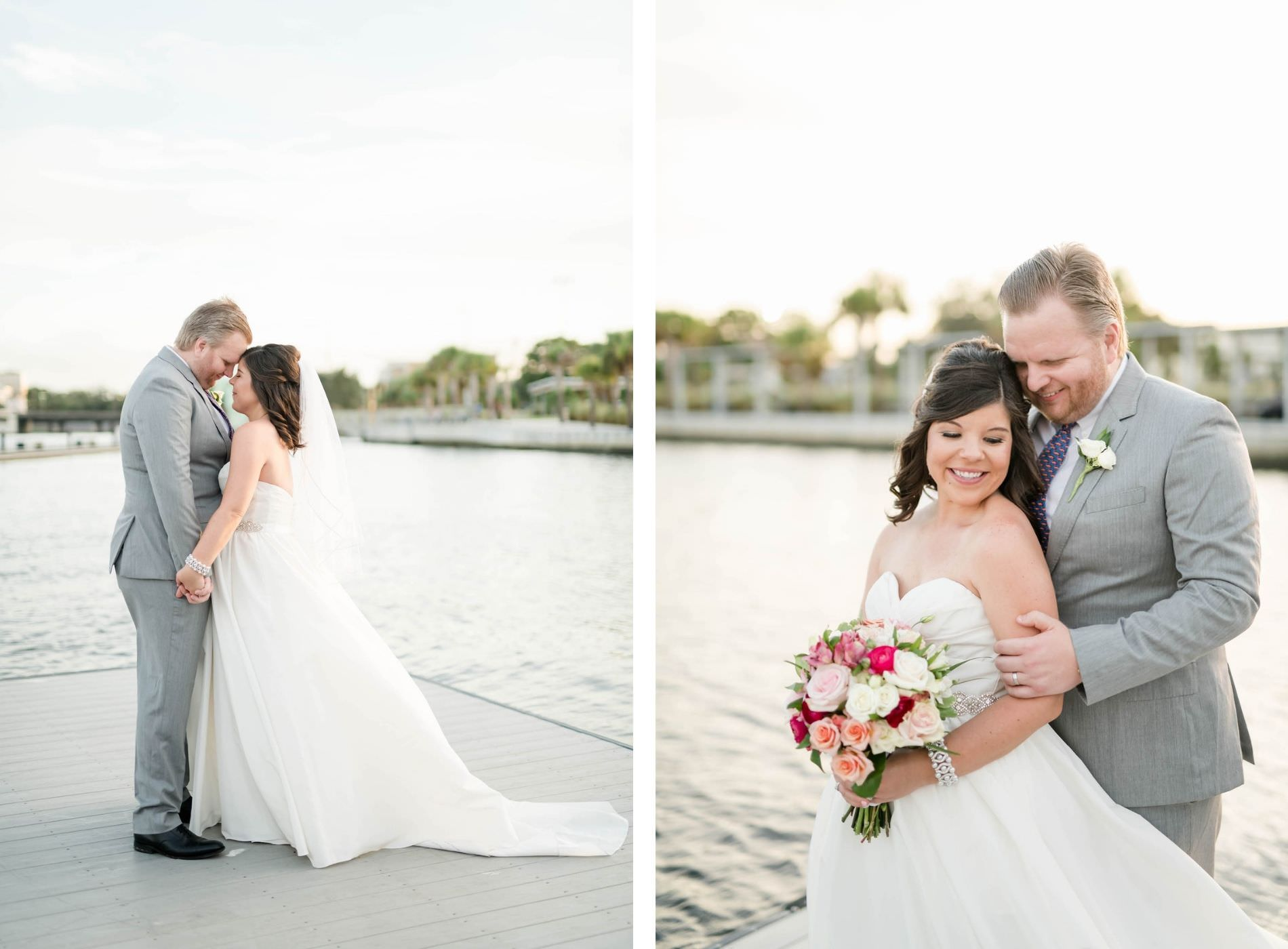 Florida Bride in Strapless A-Line Wedding Dress Holding Pink, White Roses Floral Bouquet and Groom Waterfront Photo | Tampa Bay Wedding Hair and Makeup Adore Bridal