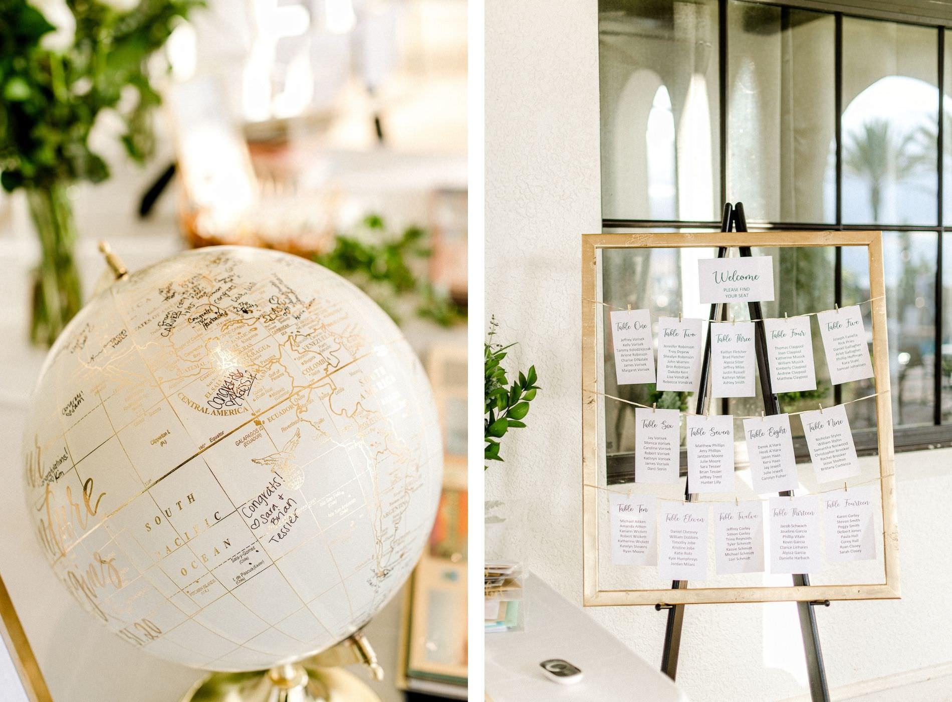 Tampa Wedding Guestbook Alternative Unique Globe Travel Wedding | Gold Frame Clothesline Wedding Seating Chart
