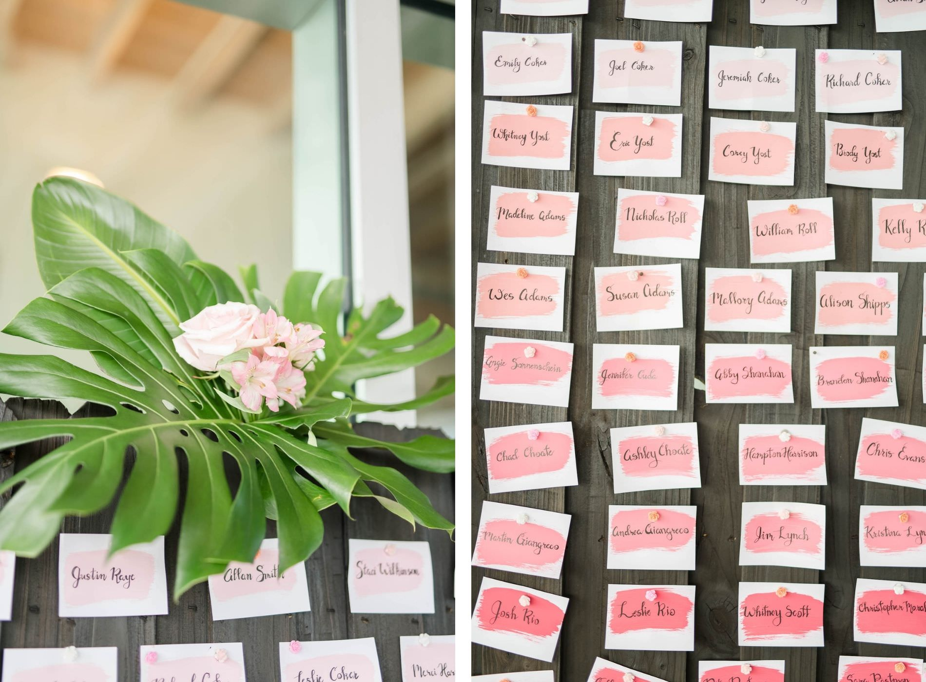 Tropical Wedding Reception Decor, Monstera Palm Leaf, Pink Watercolor Seating Cards on Wood Board | Tampa Bay Wedding Planner Coastal Coordinating