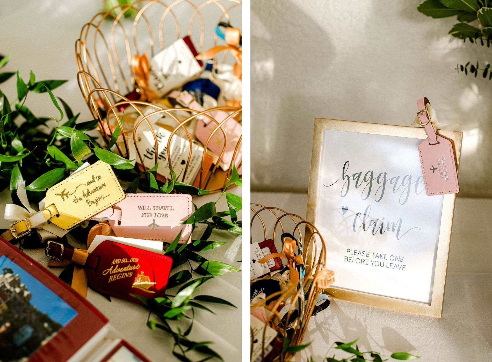 Tampa Wedding Favors Travel Theme Luggage Tags | And So The Adventure Begins | Baggage Claim wedding Favor Sign