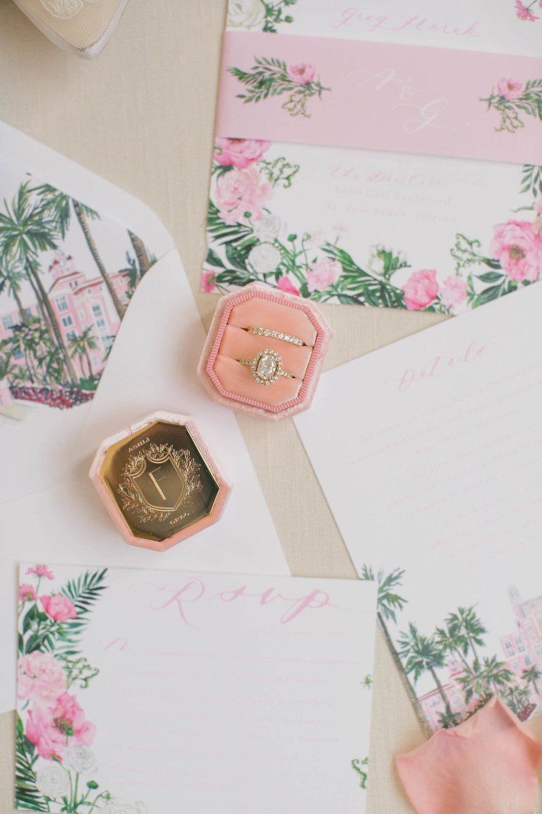 Engagement Ring in Pink Velvet Ring Box, Pink Floral Watercolor Wedding Invitation