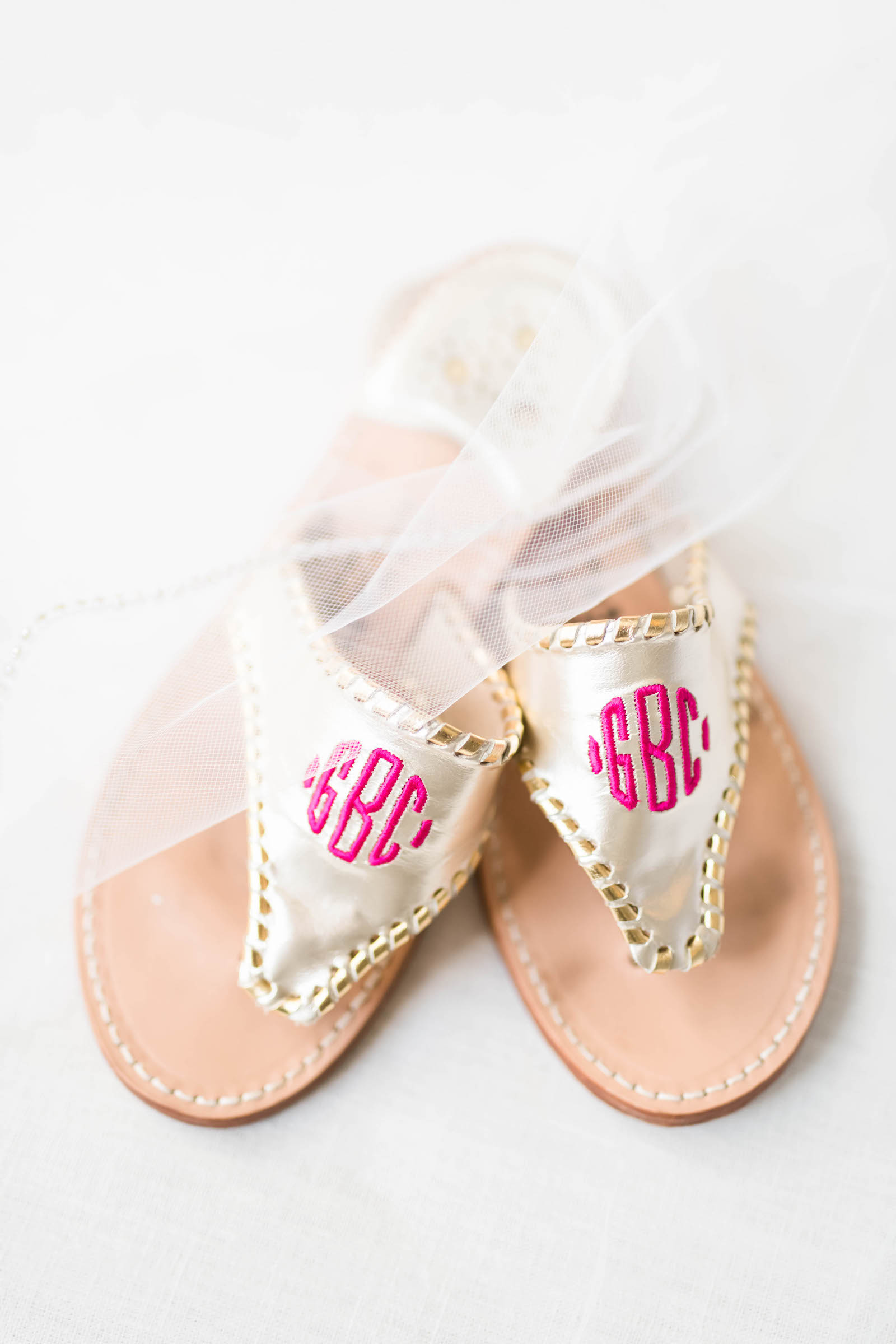 Gold Sandals with Pink Monogram Casual Wedding Shoes