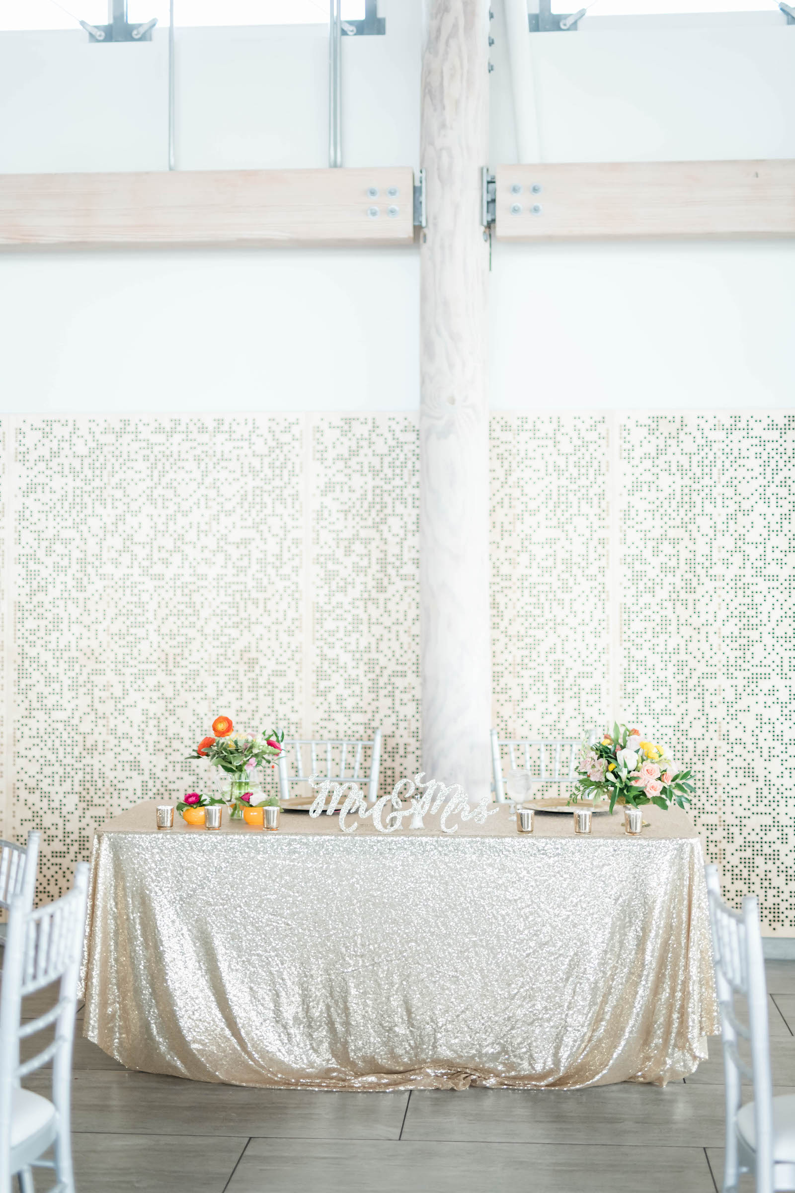Tropical Elegant Wedding Reception Decor, Sweetheart Table with Gold Glitter Linen, Mr and Mrs Sign and Colorful Flower Bouquets | Tampa Bay Wedding Planner Coastal Coordinating