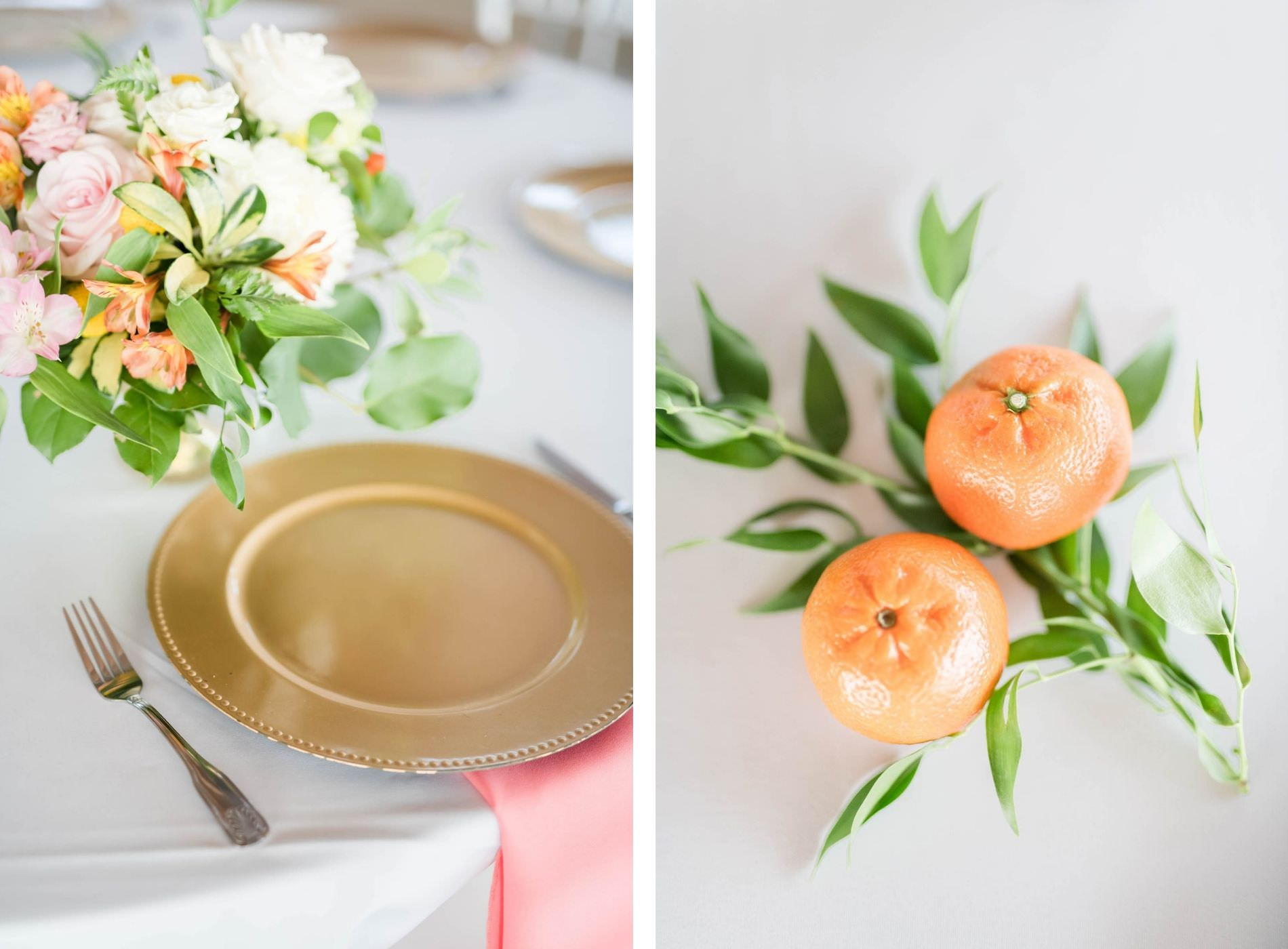 Tropical Wedding Reception Decor, Tangerine Oranges| Gold Charger with Pink Linen Napkin, Colorful Floral Bouquet with Pink, White and Orange Flowers | Tampa Bay Wedding Planner Coastal Coordinating