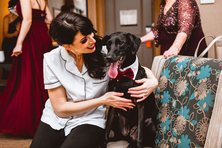 Tampa Bride Getting Wedding Ready with Dog in Red Bowtie | Wedding Pet Planner FairyTail Pet Care