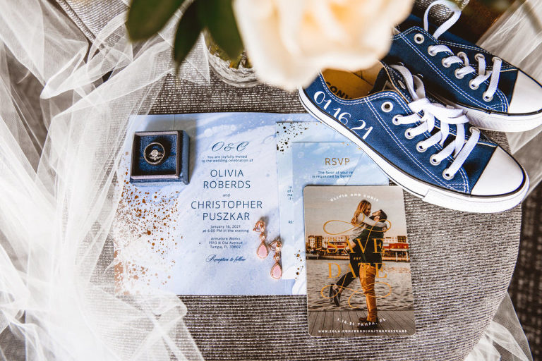 Blue Watercolor and Gold Foil Splatter Wedding Invitation, Photo Save the Date, Custom Blue Converse Sneakers with Wedding Date, Bride and Groom Wedding Bands in Ring Box