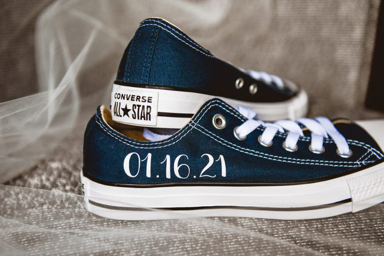 Custom Blue Converse Sneakers with Wedding Date