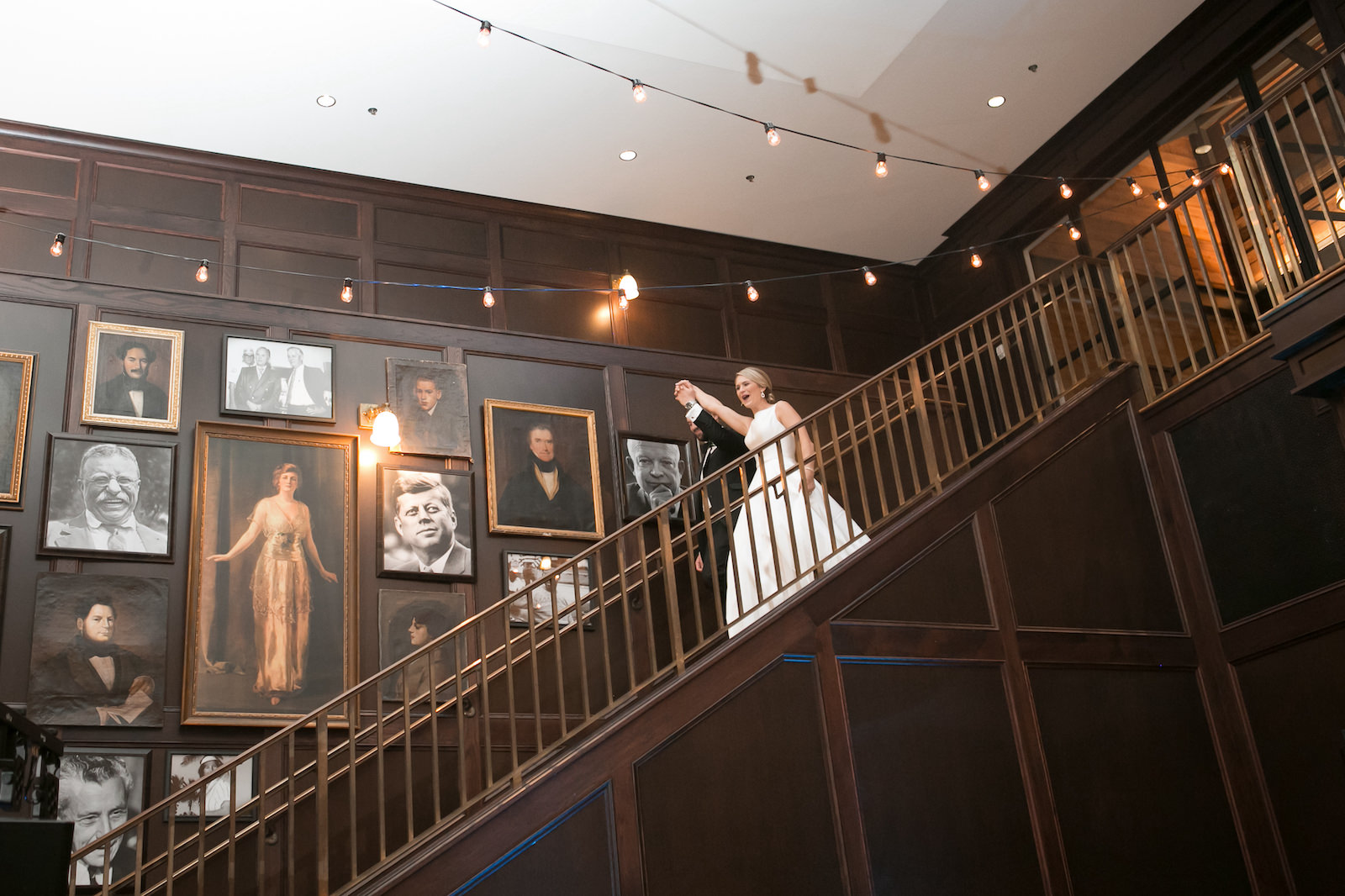 Bride and Groom Reception Introduction on Staircase at Oxford Exchange in Downtown Tampa