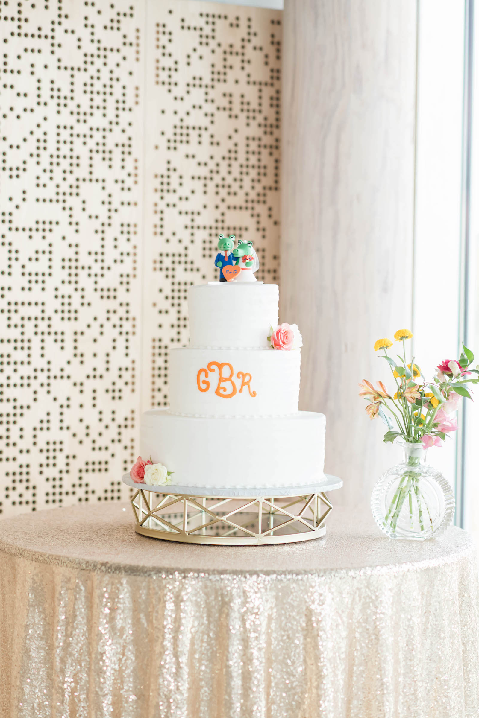 Three Tier White Wedding Cake with Orange Monogram Initials, University of Florida Gators Cake Topper