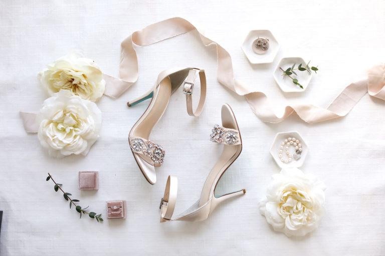 Bridal Accessories Flat Lay Wedding Photography | Blue by Betsy Johnson Designer Champagne Satin Wedding Bridal Shoes with Rhinestone Strap | Blush Pink Velvet Ring Box