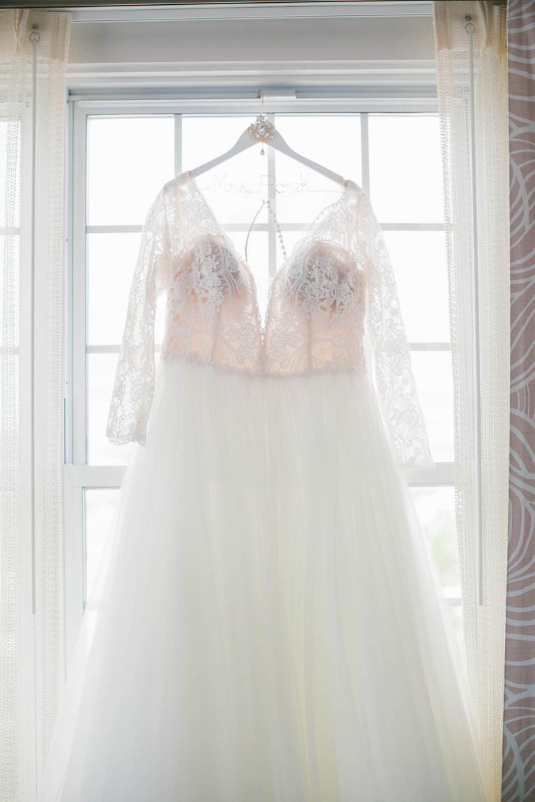 Lace and Illusion Long Sleeve and Deep V Neckline A-Line Wedding Dress with Tulle Skirt