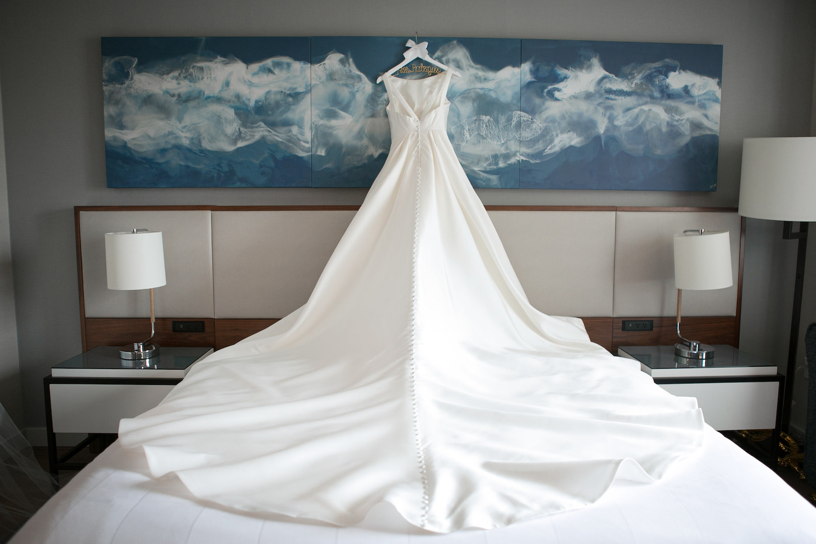 Wedding Dress Hanger Shot | Bateau Neck Mikado Satin Martina Liana Simple Elegant Wedding Dress with Buttons Down Back