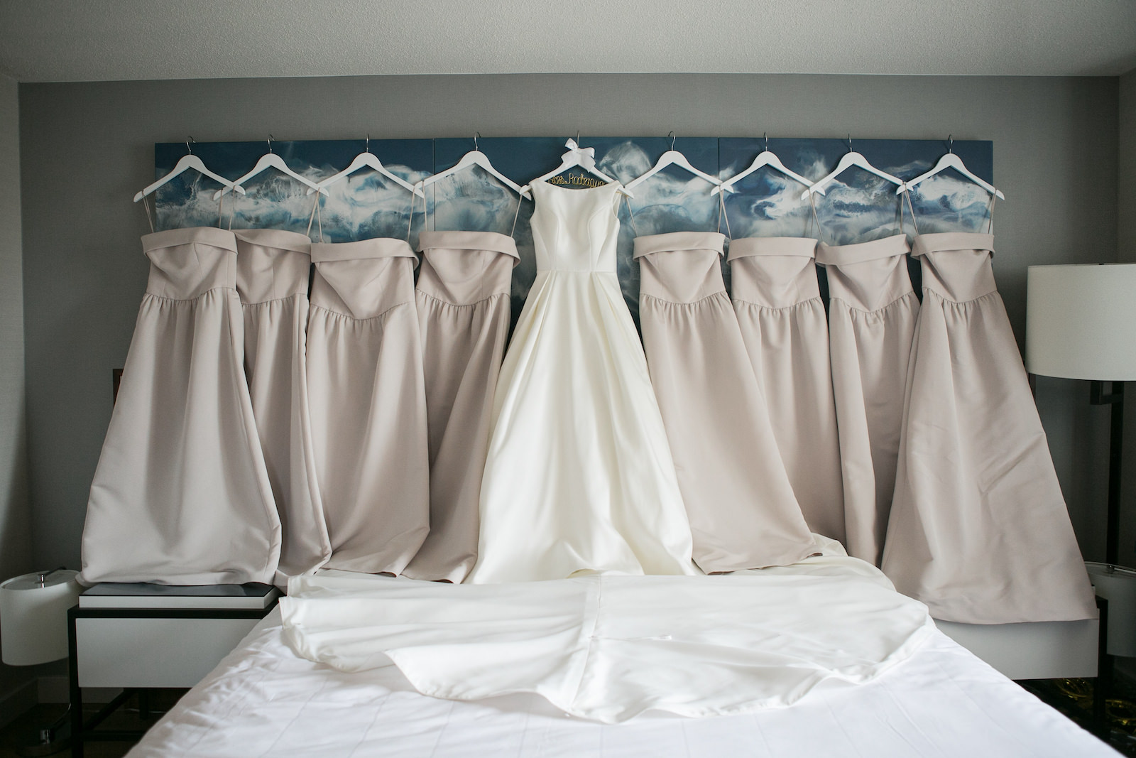 Wedding Dress Hanger Shot | Bateau Neck Mikado Satin Martina Liana Simple Elegant Wedding Dress with Buttons Down Back | Strapless Taupe Neutral Bridesmaid Dresses by Amsale