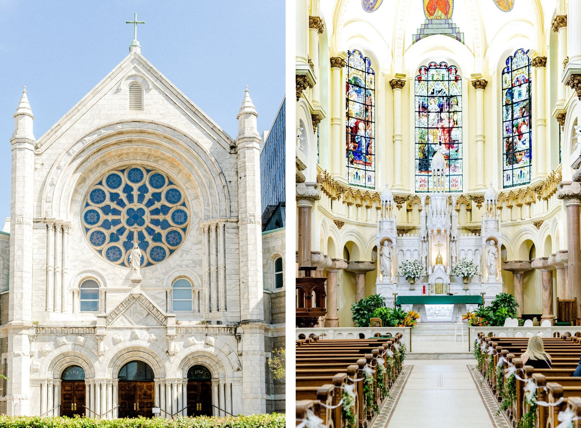Downtown Tampa Wedding Ceremony at Sacred Heart Catholic Church | Church Ceremony Aisle with Greenery