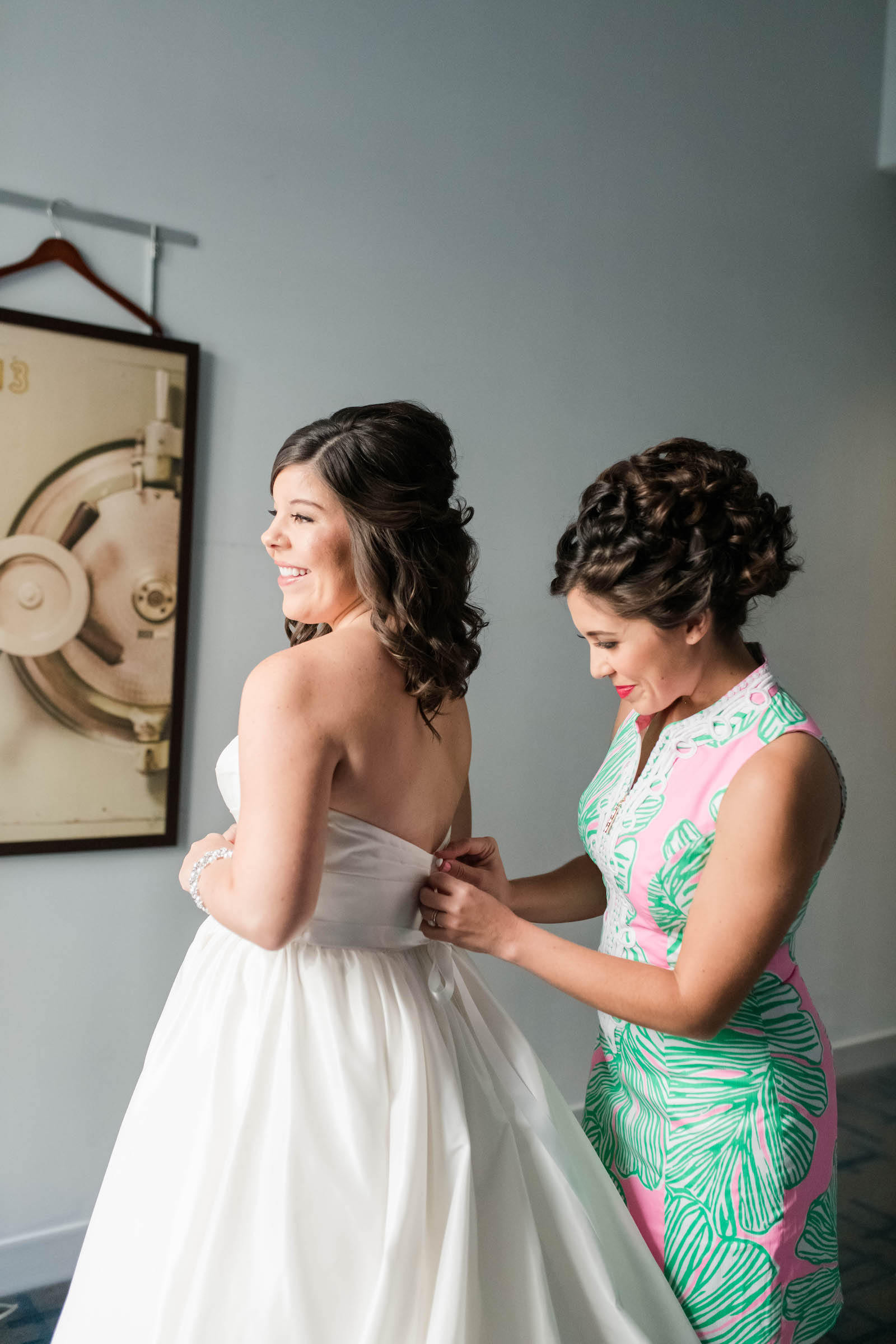 Tampa Bride Getting Wedding Ready in Dress | Wedding Hair and Makeup Adore Bridal