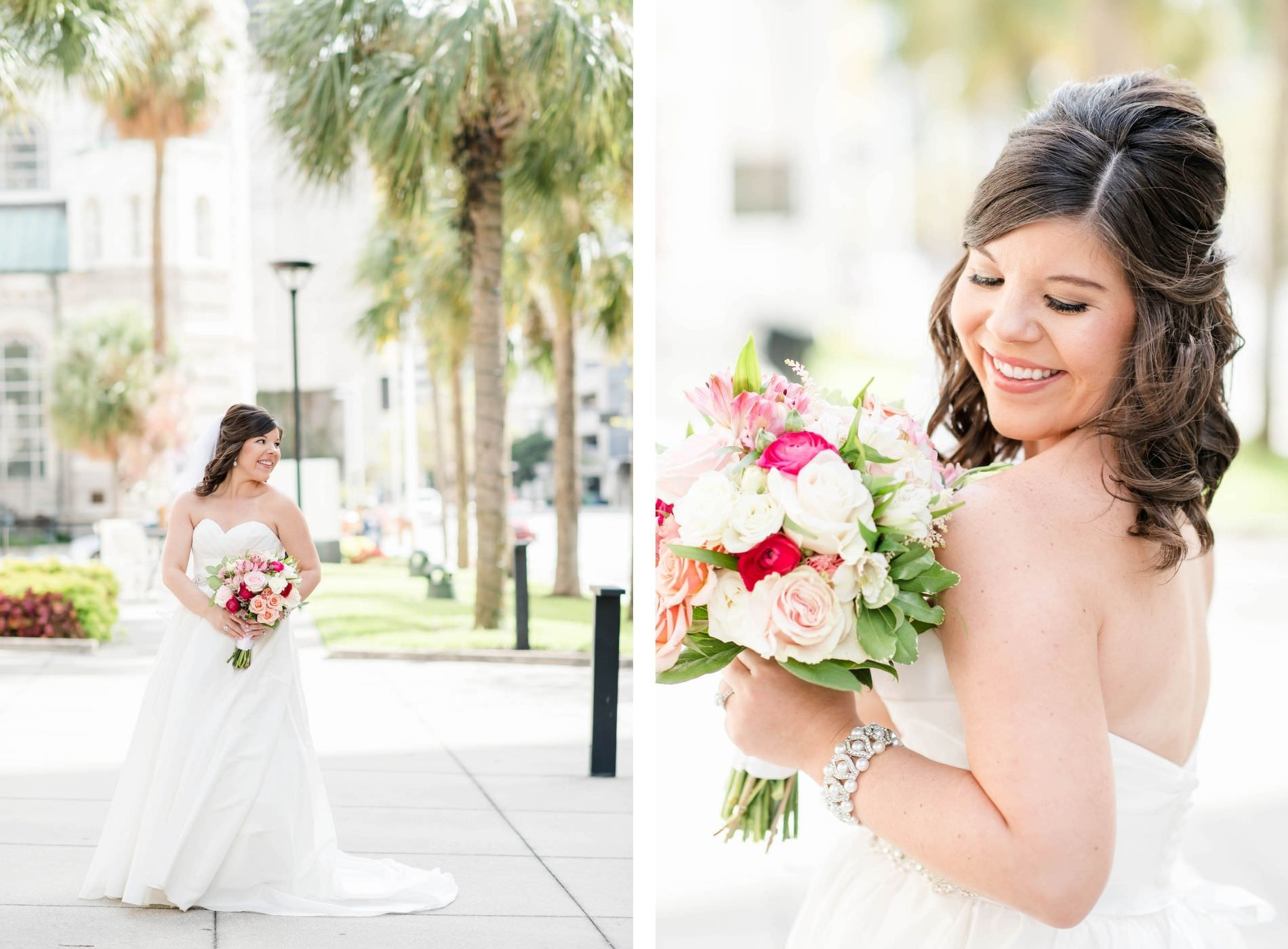 Classic Makeup and Half Updo Bride in Strapless A-Line Wedding Dress Holding White, Pink and Red Roses Floral Bouquet | Tampa Bay Wedding Hair and Makeup Adore Bridal