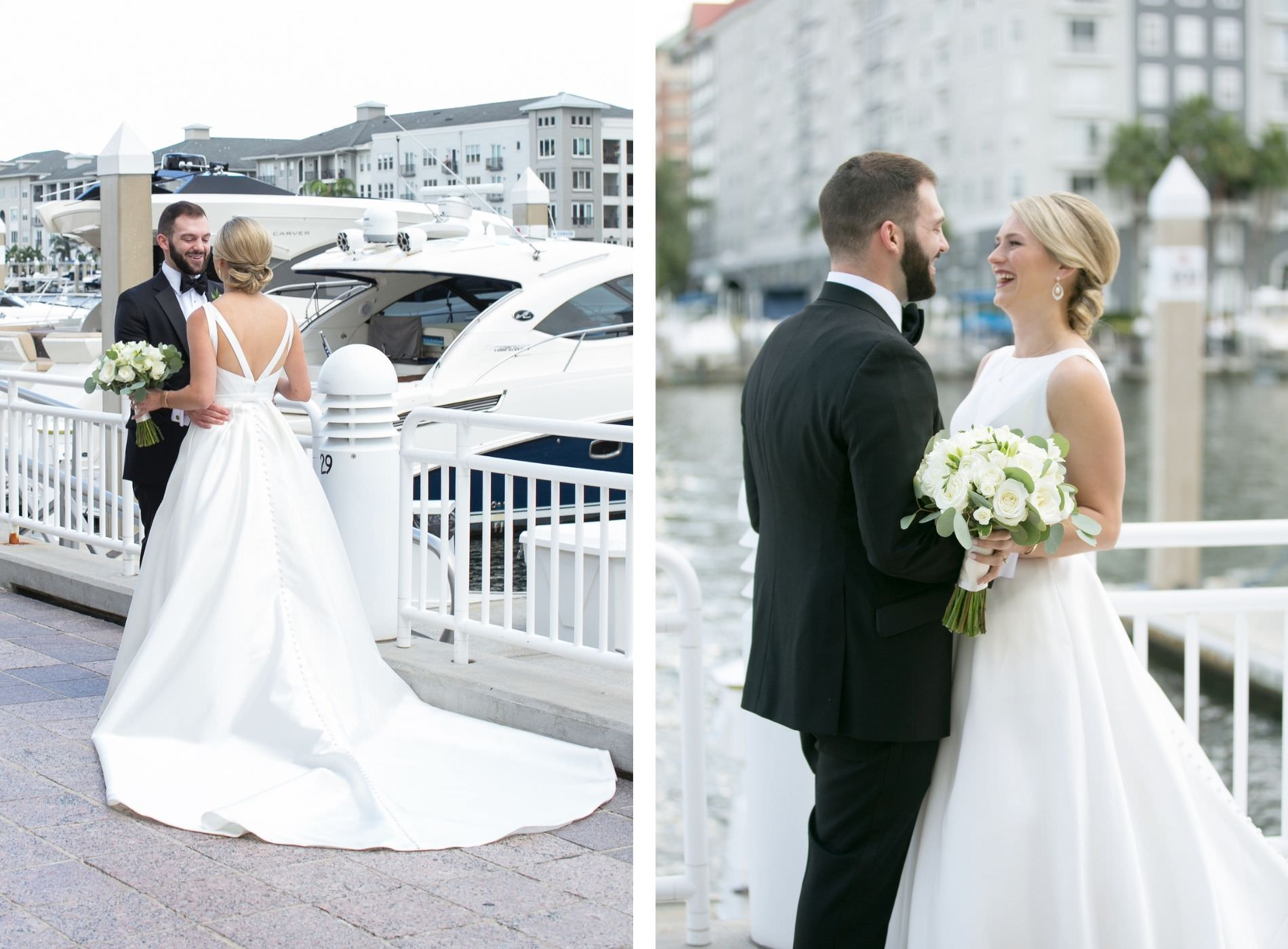 Bride and Groom First Look in Downtown Tampa Marina Riverwalk Marina | Bateau Neck Mikado Satin Martina Liana Simple Elegant Wedding Dress with Buttons Down Back | Groom in Classic Black Tux | Neutral White Rose and Greenery Bouquet | Carrie Wildes Photography