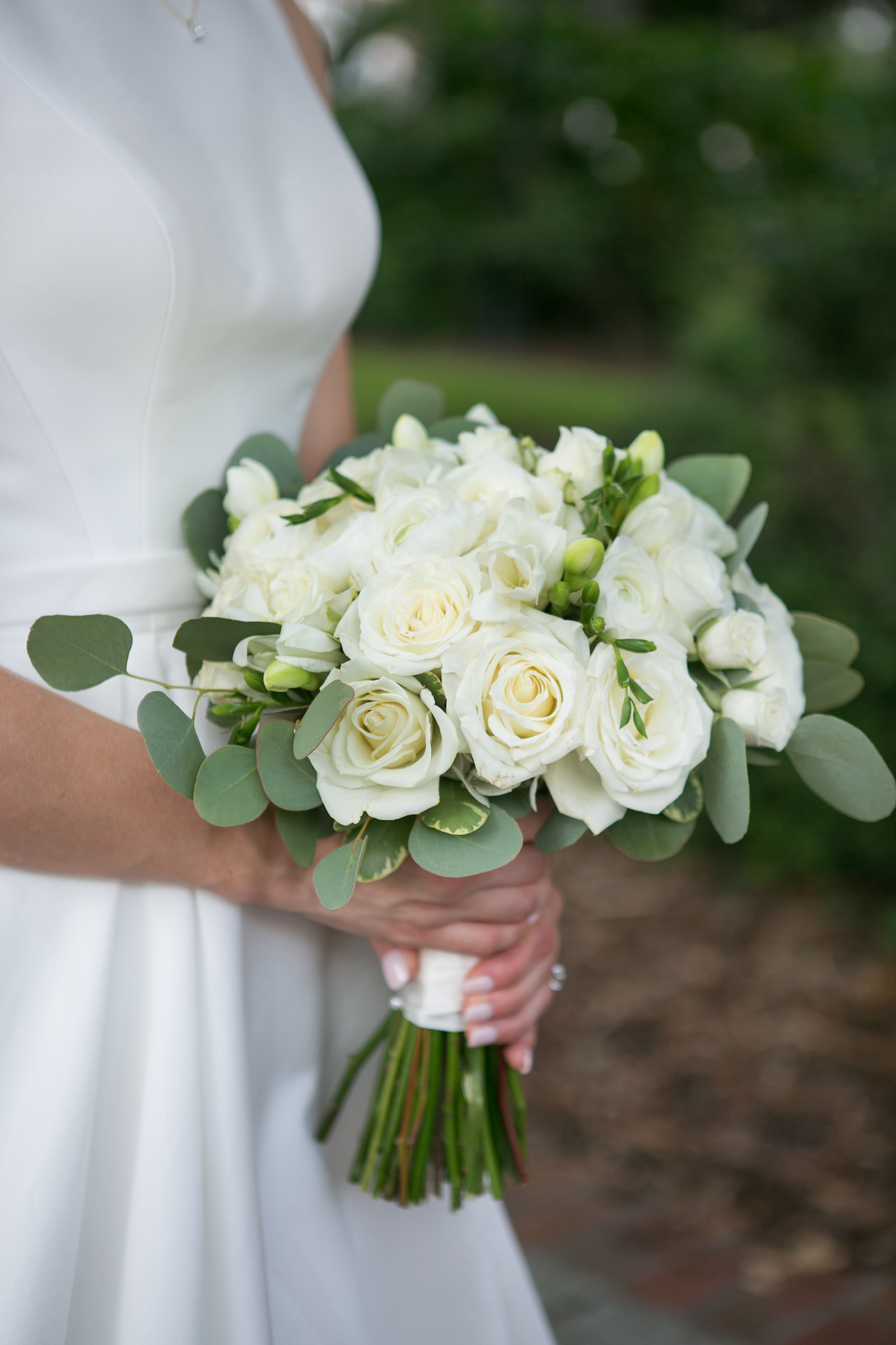 Neutral Bridal Wedding Bouquet White White Roses and Freesia and Eucalyptus Greenery | Carrie Wildes Photography