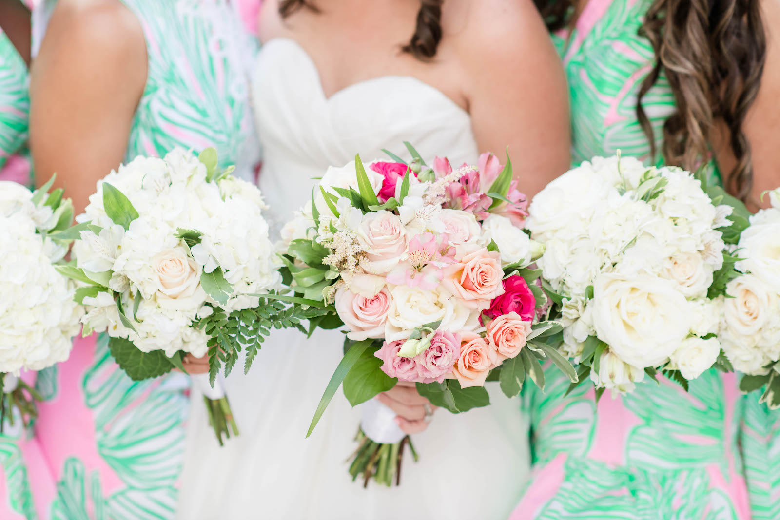 Tropical Bride and Bridesmaids Holding White Hydrangeas, Pink and Blush Roses Floral Bouquets