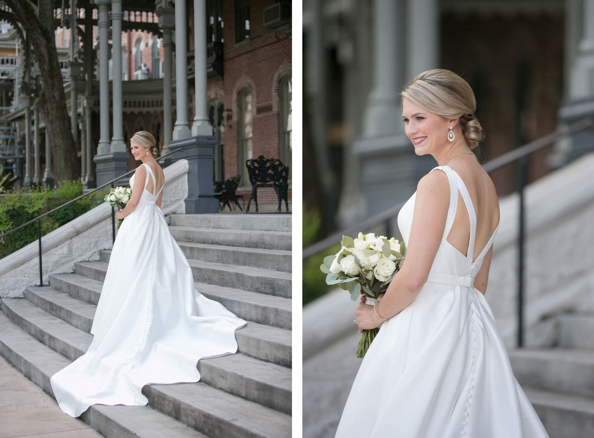 Bridal Outdoor Portrait in Downtown Tampa at Plant Museum UT | Bateau Neck Mikado Satin Martina Liana Simple Elegant Wedding Dress with Buttons Down Back | Neutral White Rose and Greenery Bouquet | Carrie Wildes Photography