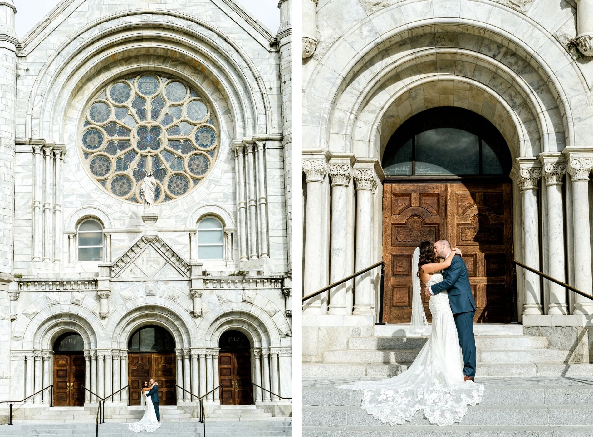 Bride and Groom Portrait on Steps of Sacred Heart Catholic Church in Downtown Tampa | Lace Strapless Sweetheart Scalloped Edge Train Wedding Dress Bridal Gown | Groom Wearing Classic Navy Suit