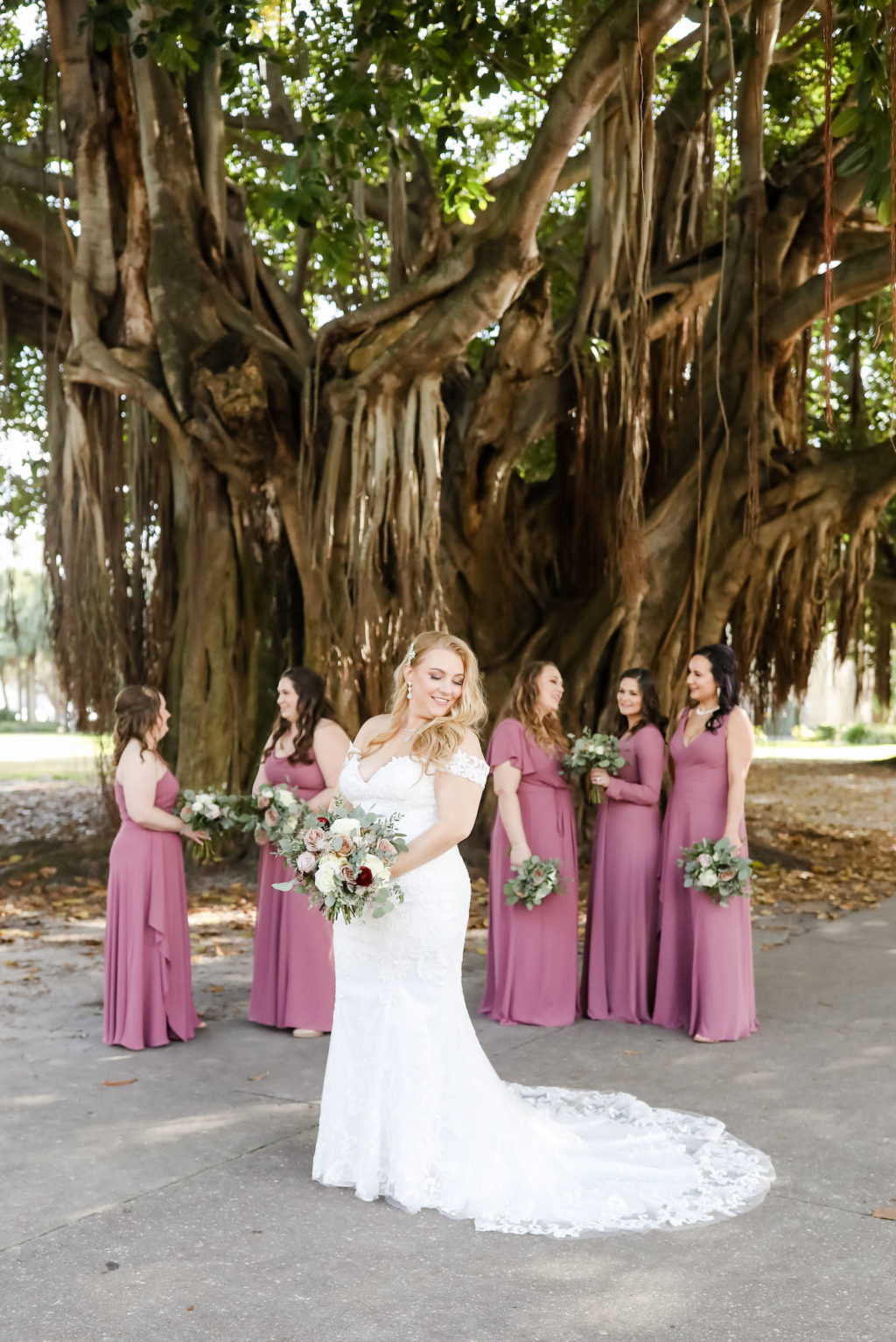 Classic Bride in Lace Off the Shoulder Wedding Dress, Bridesmaids in Dusty Rose Dresses | Tampa Bay Wedding Florist Monarch Events and Design | Wedding Photographer Lifelong Photography Studio