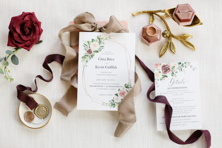 Jewel Toned, Gold Geometric Shapes and Florals Wedding Inviation Suite, Blue Pink Ring Box with Bride and Groom Wedding Rings | Tampa Bay Wedding Photographer Lifelong Photography Studio