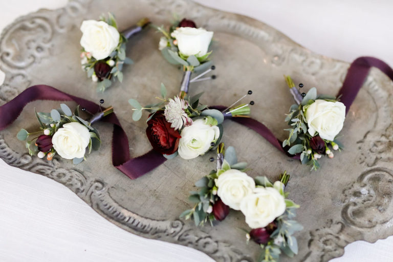 White Roses and Dark Red Floral Groom Wedding Boutonnieres | Tampa Bay Wedding Florist Monarch Events and Design