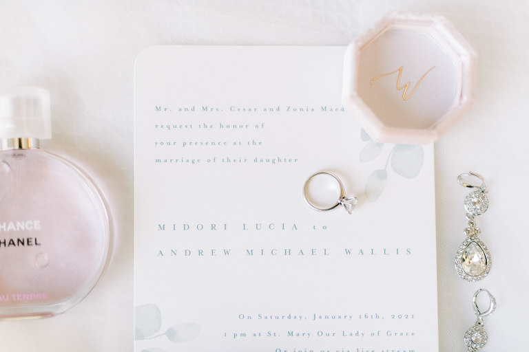 White and Dusty Blue Wedding Invitation, Engagement Ring, Chanel Perfume Bottle, Diamond Drop Earrings | Tampa Bay Wedding Photographer Kera Photography