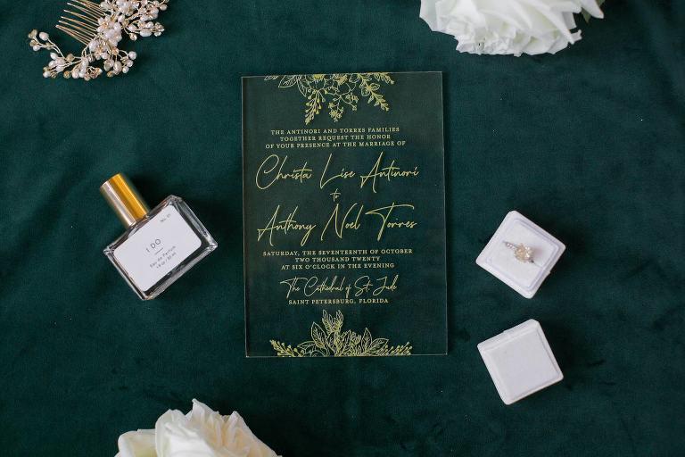 Elegant Acrylic and Gold Script Wedding Invitation, Diamond Engagement Ring in Blush Pink Ring Box