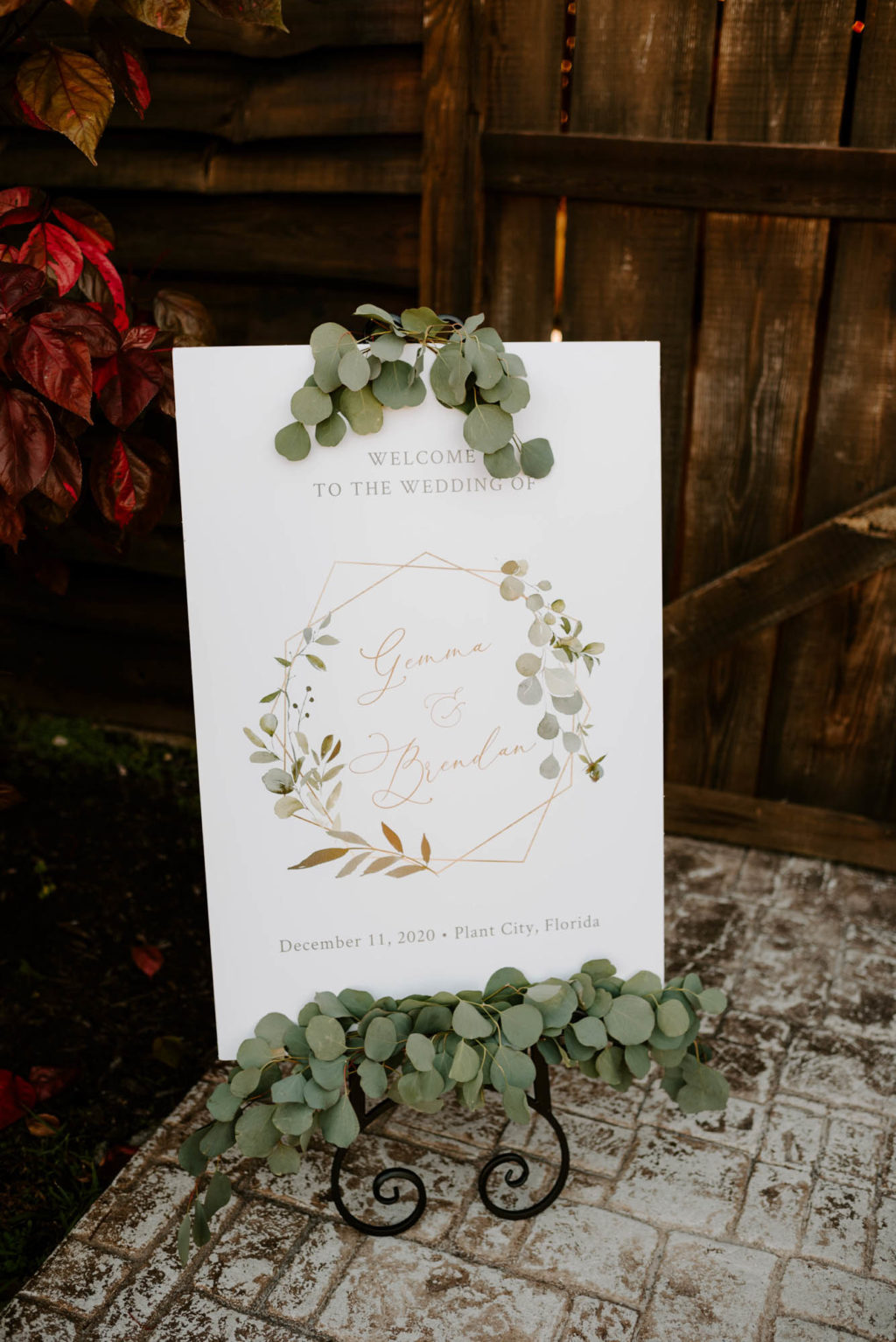 Wedding Welcome Sign with Eucalyptus Greenery Garland easel and Gold Geometric and Greenery Motif