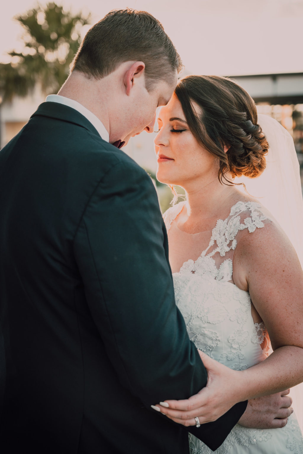 Bride and Groom Sunset Portrait at Tampa Heights Rooftop Wedding | Tampa Wedding Photographer Bonnie Newman Creative