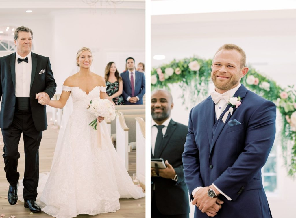 Tampa Bride Walking Down the Aisle with Dad, Grooms Reaction to Seeing Bride | Wedding Hair and Makeup Artist Femme Akoi Beauty Studio