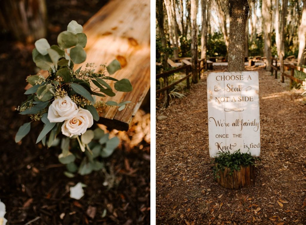 Rustic Outdoor Plant City Wedding Choose A Seat Not A Side Sign and Wood Bench Aisle Arrangement with White Rose and Eucalyptus Greenery
