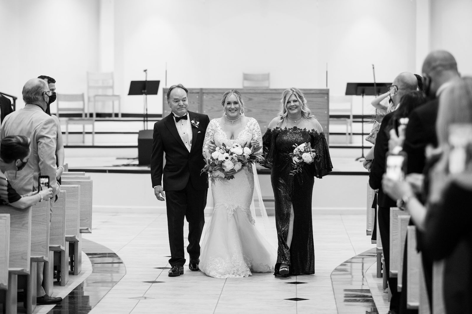 Tampa Bride and Parents Walking Down the Wedding Ceremony Aisle