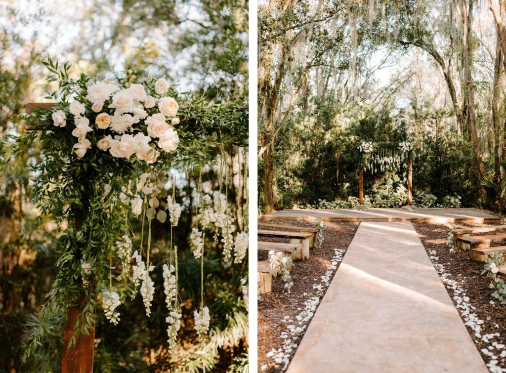 Outdoor Wedding Ceremony with Wood Benches and Wood Arch at Plant City Wedding Venue Florida Rustic Barn Weddings | Ceremony Backdrop wood Arch Arbor with Greenery and White Roses and Suspended Hanging Stock Flowers