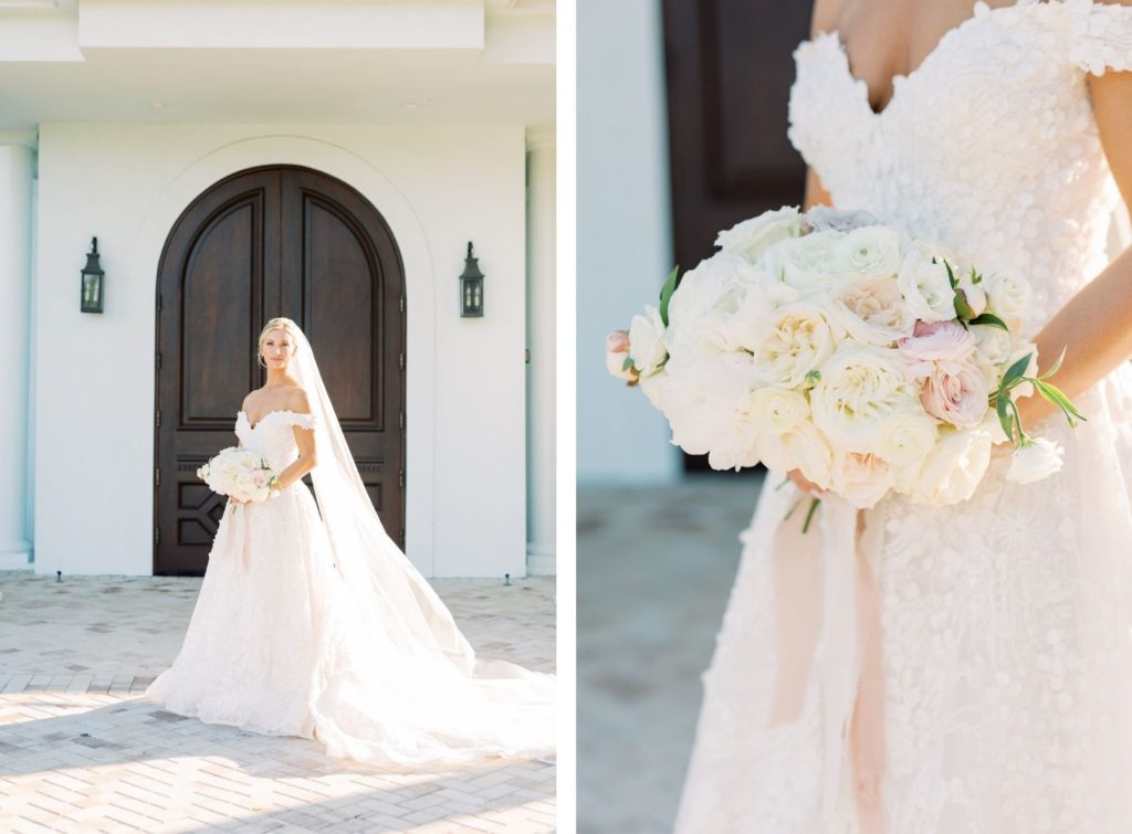 Romantic Timeless Bride Wearing Floral Lace Over Tulle Off the Shoulder Allure Couture Bridal Ballgown Wedding Dress Holding Classic Ivory and Blush Pink Roses Floral Bouquet | Safety Harbor Wedding Venue Harborside Chapel | Tampa Bay Wedding Hair and Makeup Femme Akoi Beauty Studio